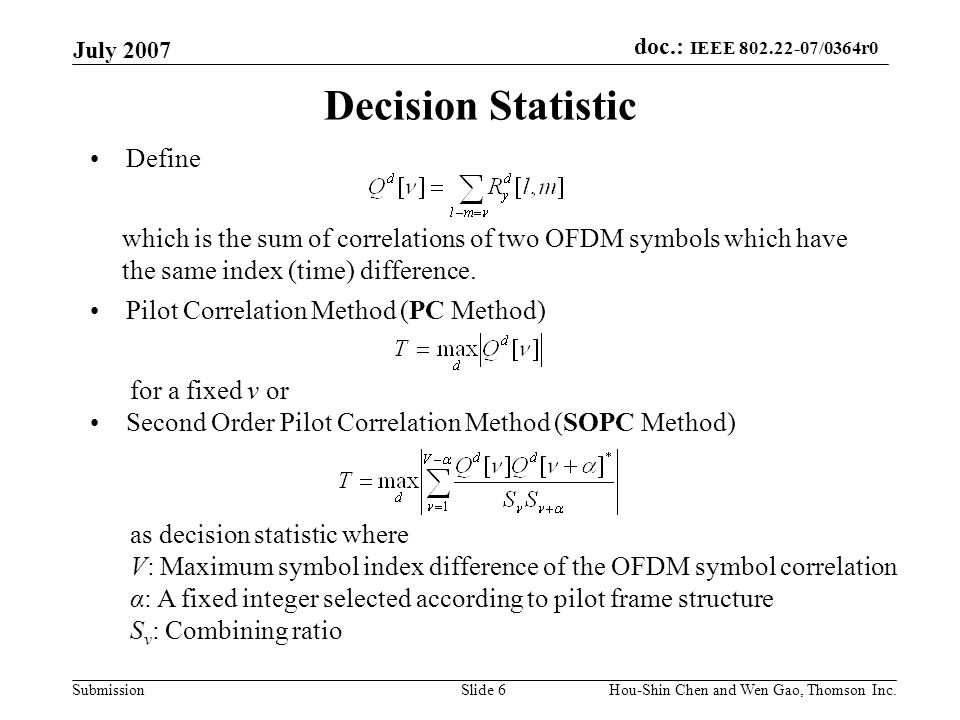 Decision Statistic Define