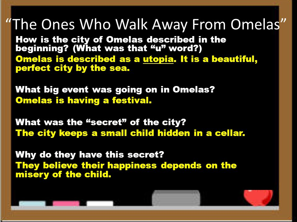 """a review of the ones who walked away from omelas """"critical analysis: 'the ones who walk away from omelas'"""" by richard x thripp page 3 of 10 that are similar yet more murky, such as euthanasia for the hopelessly ill and elderly, triaging in."""