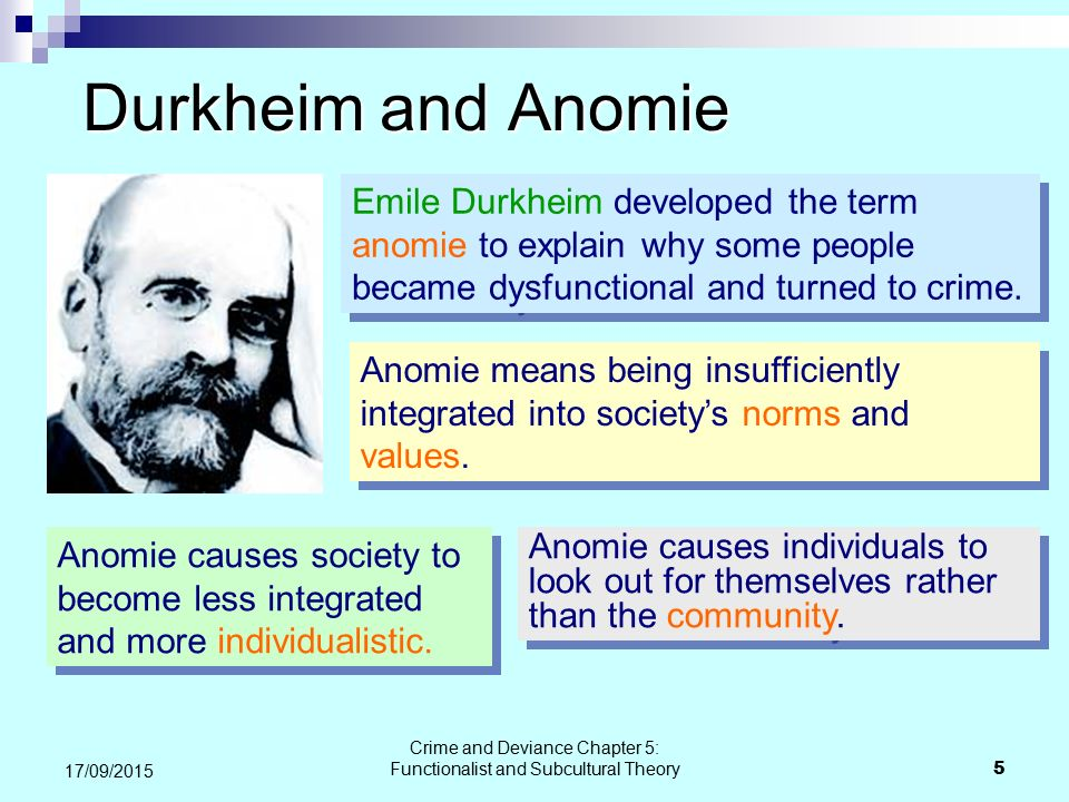 emile durkheim deviance theory Free emile durkheim papers first to conceptualise deviance with today's theorists generally accepting his theory as a functionalist theory of deviance the normative theories consider values as what a the theories of emile durkkheim - the theories of emile.
