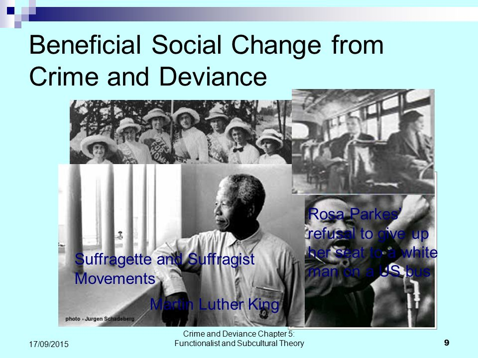 Beneficial Social Change from Crime and Deviance