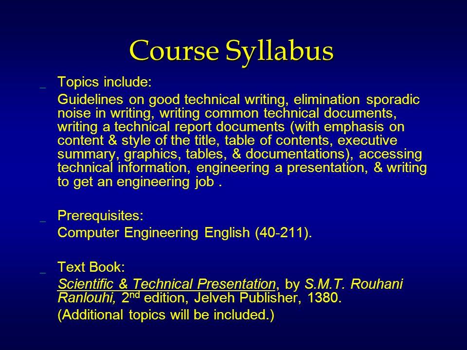 Technical Writing Course Syllabus