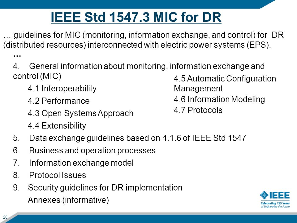 IEEE Std 1547.3 MIC for DR