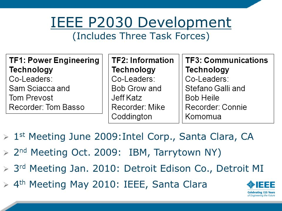IEEE P2030 Development (Includes Three Task Forces)