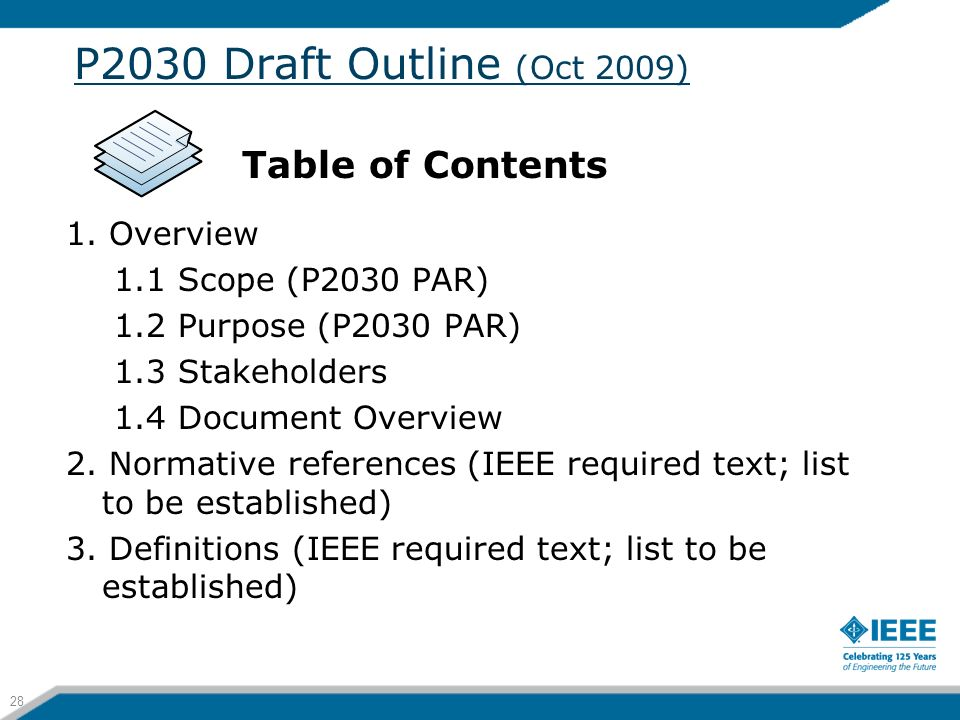 P2030 Draft Outline (Oct 2009) Table of Contents