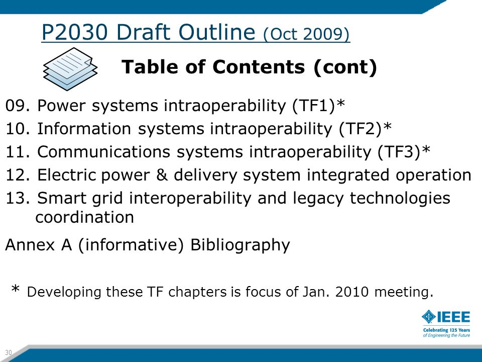 P2030 Draft Outline (Oct 2009) Table of Contents (cont)