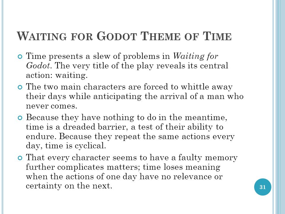 waiting for godot time essay At face value waiting for godot could be called a simple play  waiting for godot – samuel beckett essay sample  the time and geographic whereabouts is.