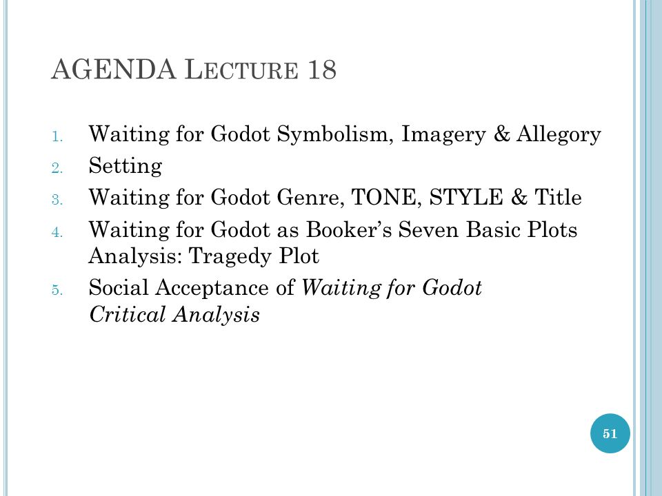 drama ii modern drama lecture ppt video online  agenda lecture 18 waiting for godot symbolism imagery allegory