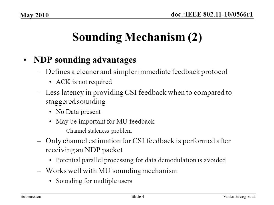 Sounding Mechanism (2) NDP sounding advantages