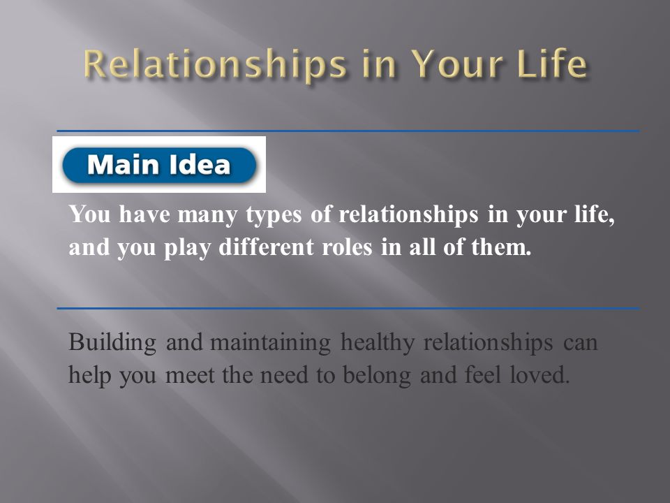The different kinds of relationships in life, Research paper