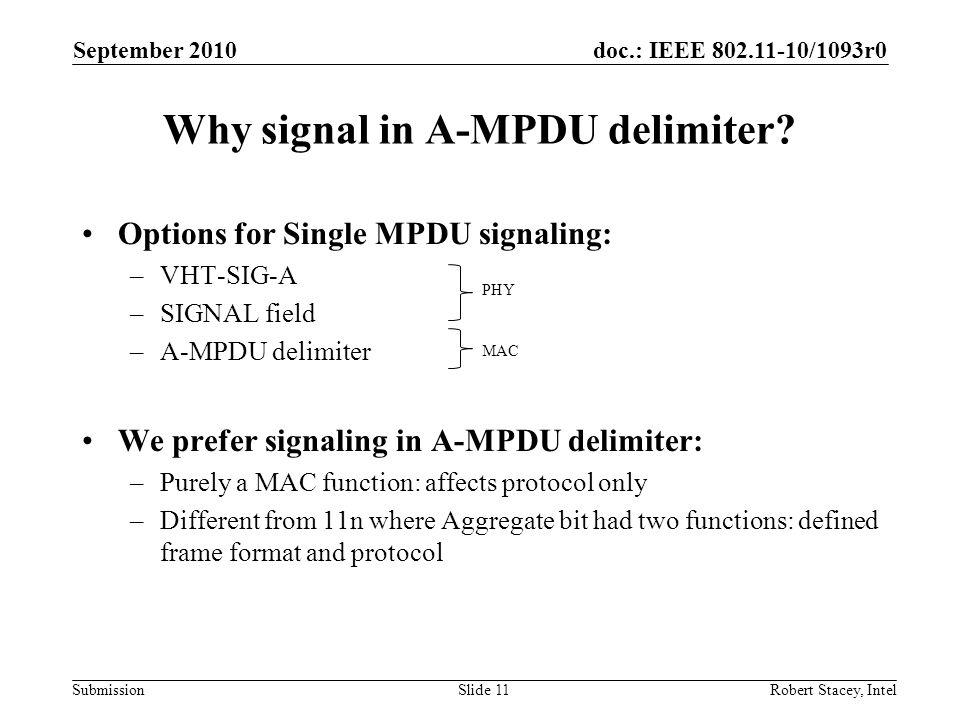 Why signal in A-MPDU delimiter