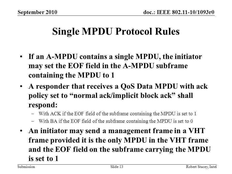 Single MPDU Protocol Rules