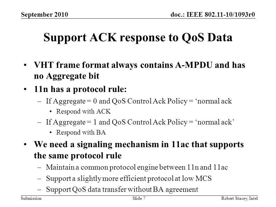 Support ACK response to QoS Data