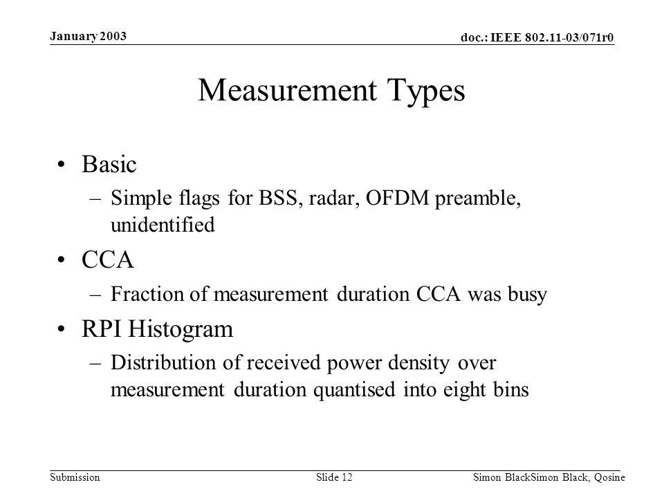 Measurement Types Basic CCA RPI Histogram