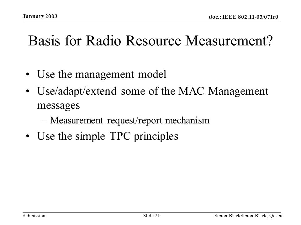 Basis for Radio Resource Measurement