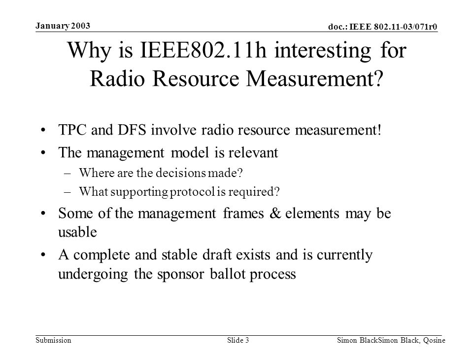 Why is IEEE802.11h interesting for Radio Resource Measurement