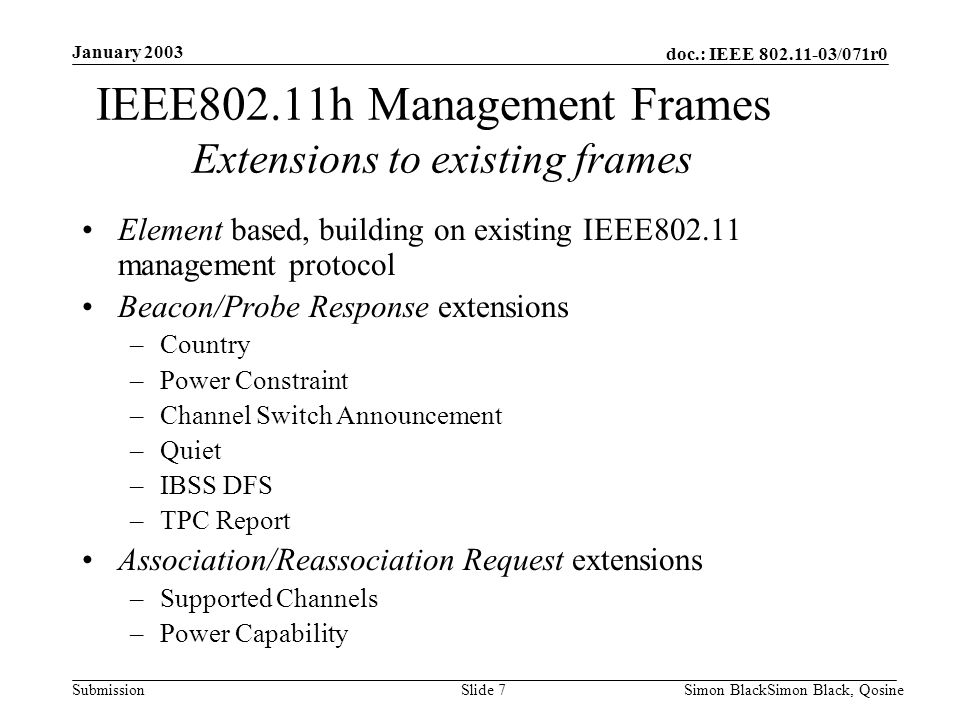 IEEE802.11h Management Frames Extensions to existing frames