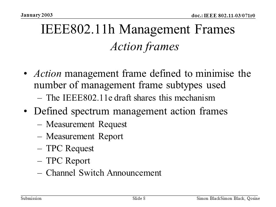 IEEE802.11h Management Frames Action frames