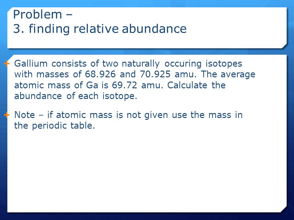 Atomic number mass number atomic mass and isotopes ppt video mass in the periodic table problem 3 finding relative abundance urtaz