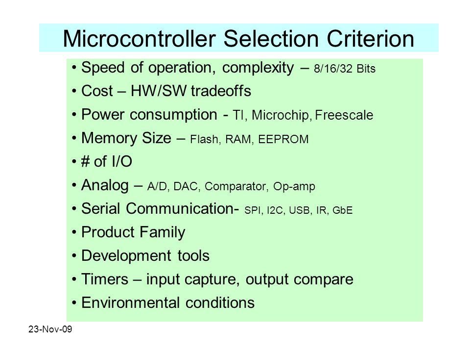 Microcontroller Selection Criterion