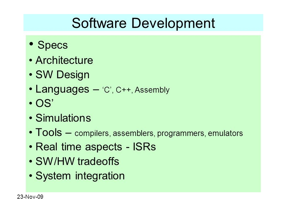 Software Development Specs Architecture SW Design