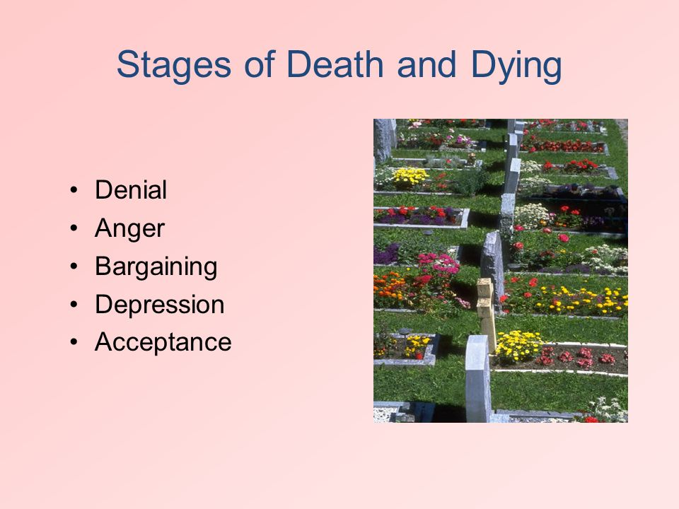 stages of death that a person can experience in elisabeth kubler ross on death and dying Developed by dr elizabeth kubler-ross in her book on death and dying dr  kubler-ross actually wrote about the stages that dying people tend to go  again , not everyone will experience all of these stages, or, if all are experienced,.