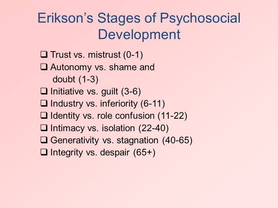 autonomy vs shame and doubt eriksons stages of development Autonomy vs shame and doubt is the second stage of the development, it happens between 1 and the half years old to 3 years old during this period, erikson stated that it is important for parents to encourage their children on what they have done and give them the opportunity to discover the limits of their abilities.