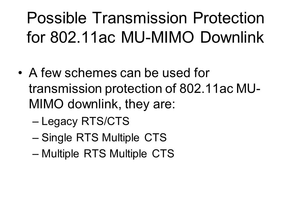 Possible Transmission Protection for 802.11ac MU-MIMO Downlink