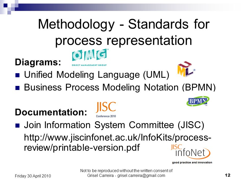 Methodology - Standards for process representation