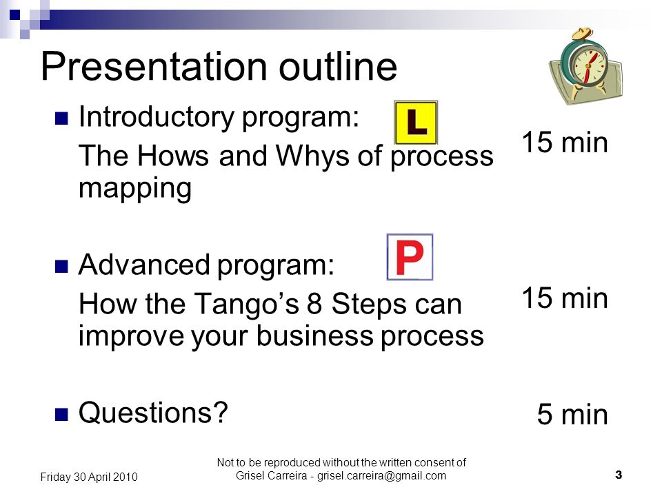 Presentation outline Introductory program: