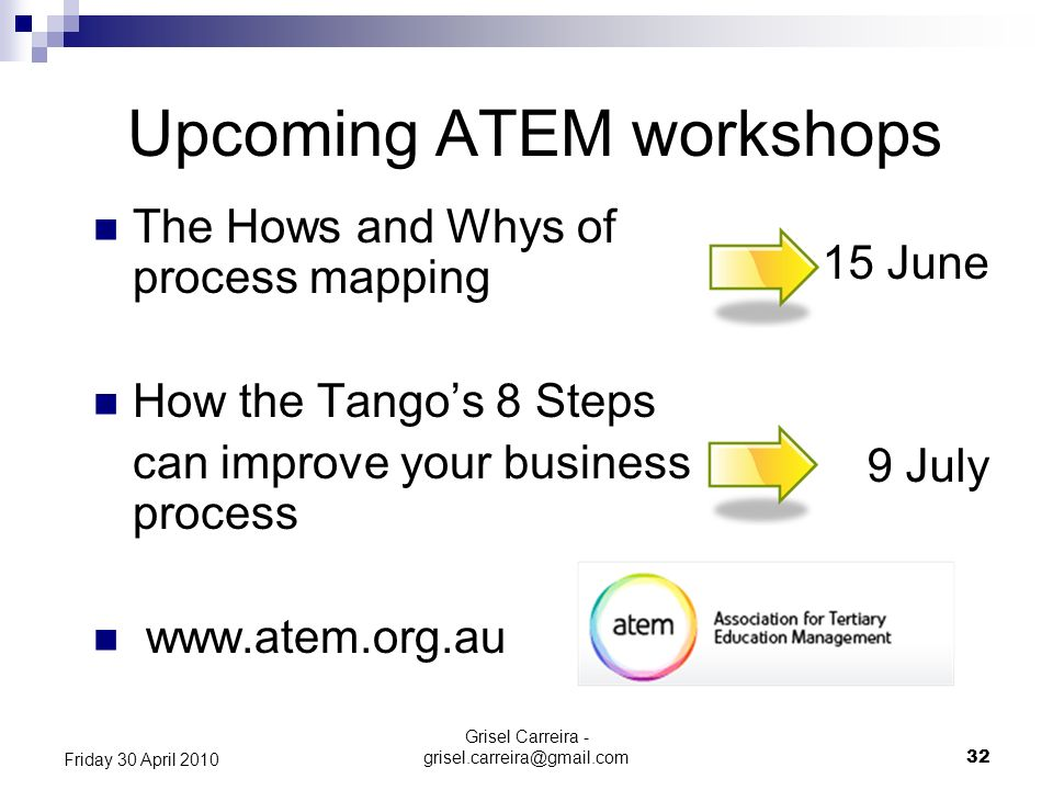 Upcoming ATEM workshops