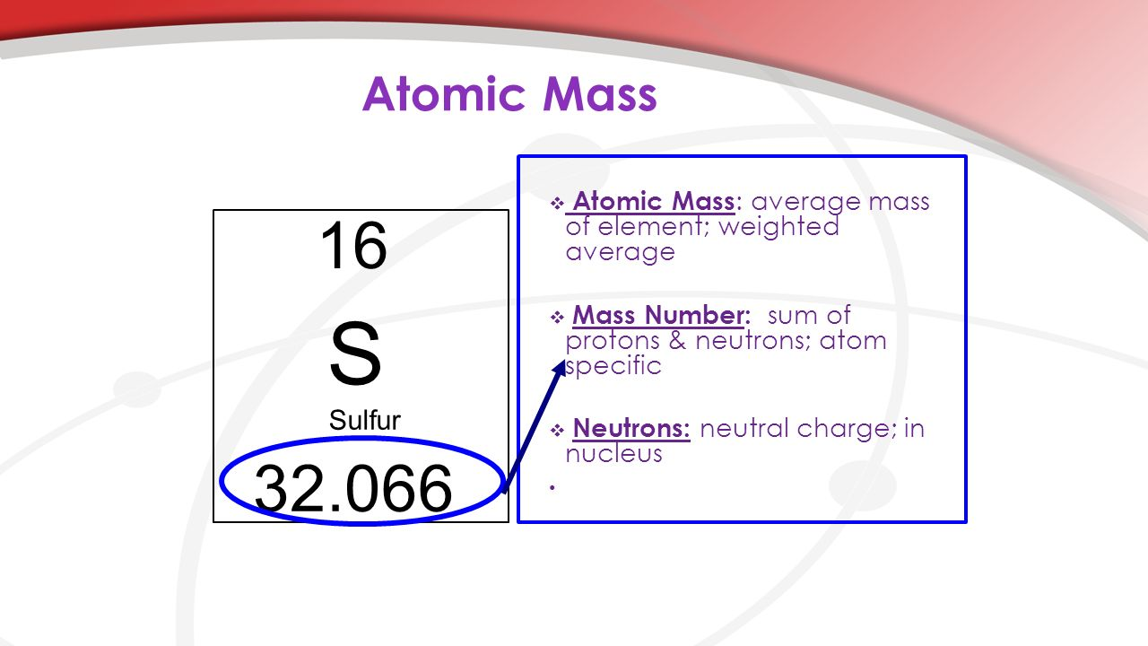 Atomic Mass Atomic Mass: average mass of element; weighted average. Mass Number: sum of protons & neutrons; atom specific.