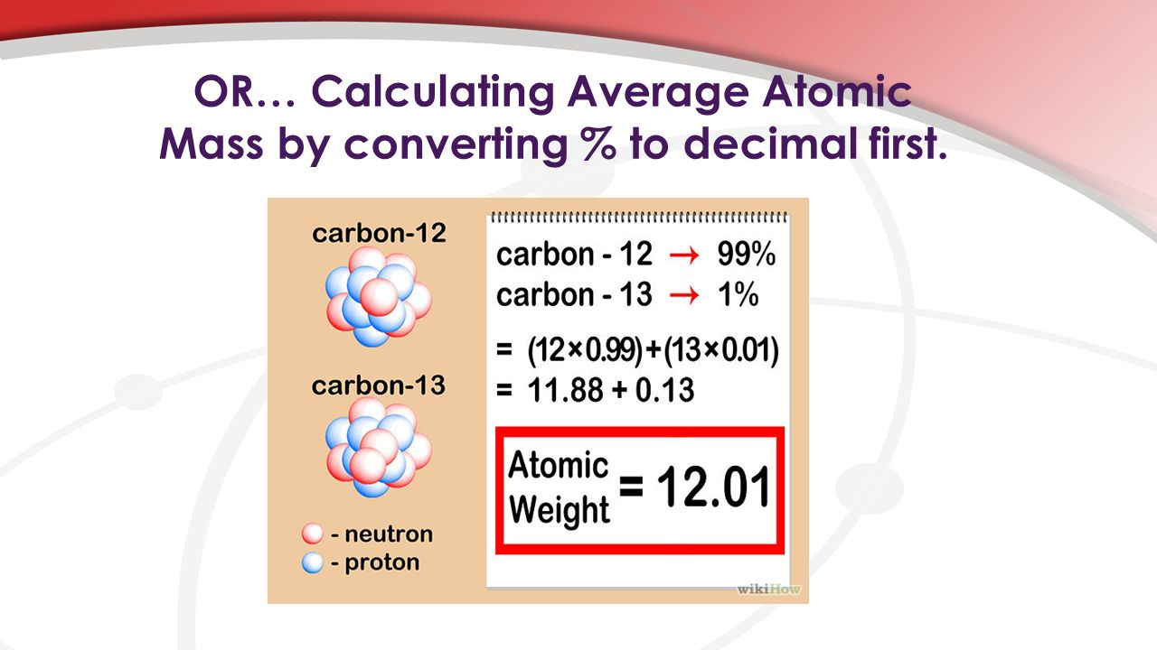 OR… Calculating Average Atomic Mass by converting % to decimal first.