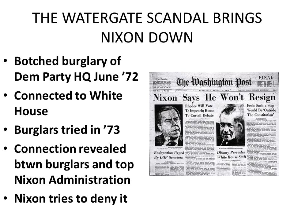 the watergate crisis How might each of the author's views impact the reader's understanding of the watergate crisis step 2: describe how the watergate events changed american views toward politics and politicians in your view, how did these events change the press coverage of politicians.