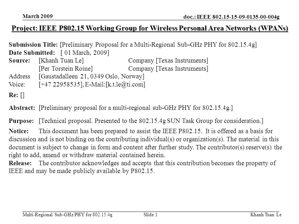 March 2009 Project: IEEE P802.15 Working Group for Wireless Personal Area Networks (WPANs)