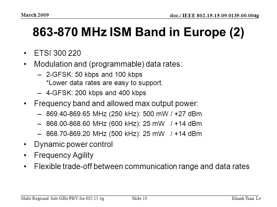 863-870 MHz ISM Band in Europe (2)