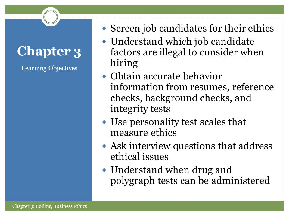 chapter three hiring ethical ppt