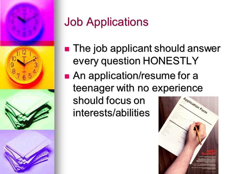 teenage job application