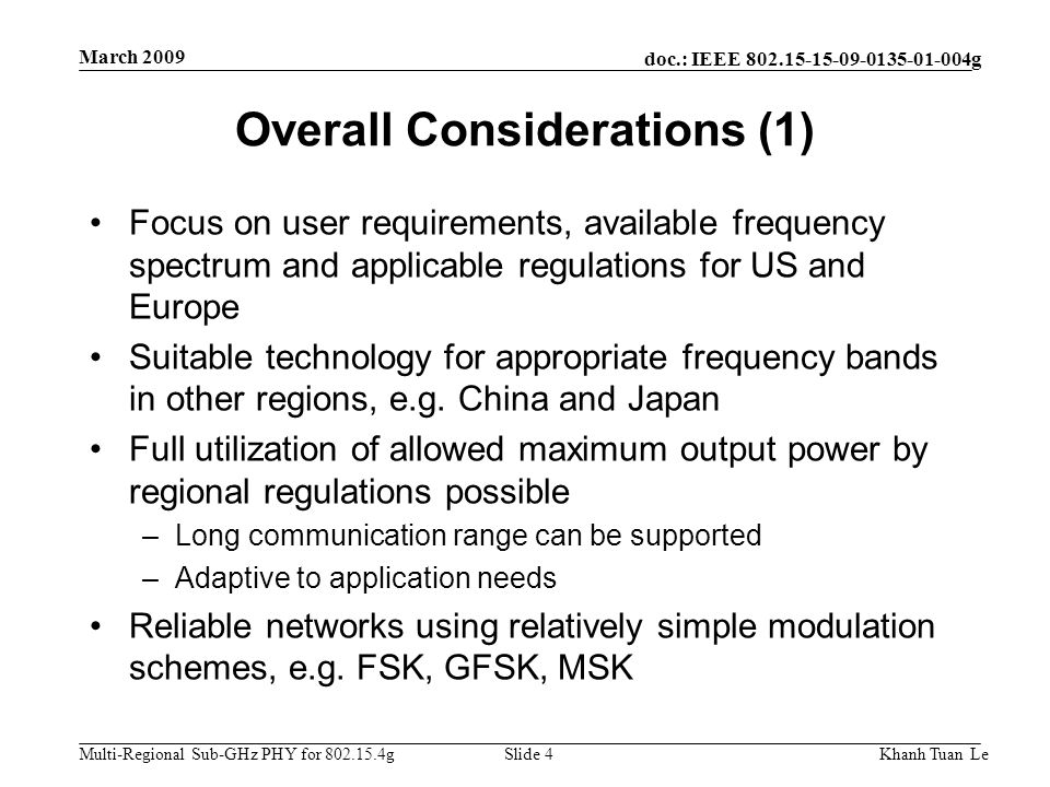 Overall Considerations (1)