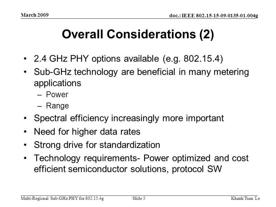 Overall Considerations (2)