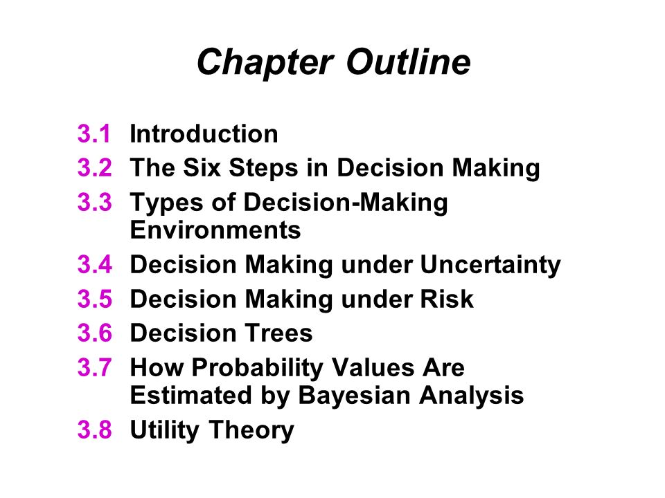six basic steps to decision making The purpose of this article is to describe a step-by-step process for decision making, and a model is developed to aid health care managers in making more quality decisions, which ultimately determines the success of organizations the decide model is the acronym of 6 particular activities needed in the decision- making.