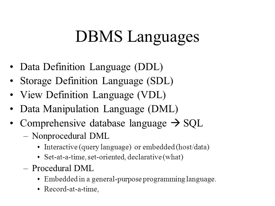 21 Dbms Languages Data Definition