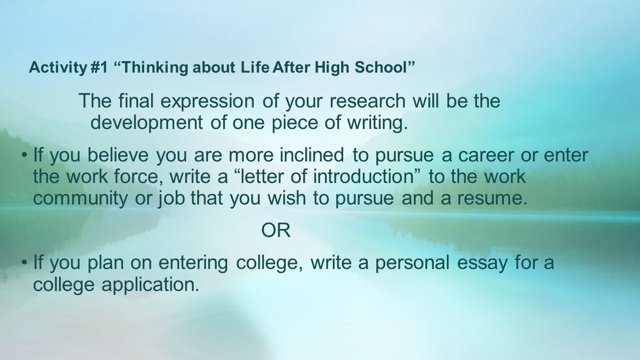 English Essay Introduction Example Activity  Thinking About Life After High School High School Narrative Essay also English Extended Essay Topics Whats Next Thinking About Life After High School  Ppt Video  English Language Essay