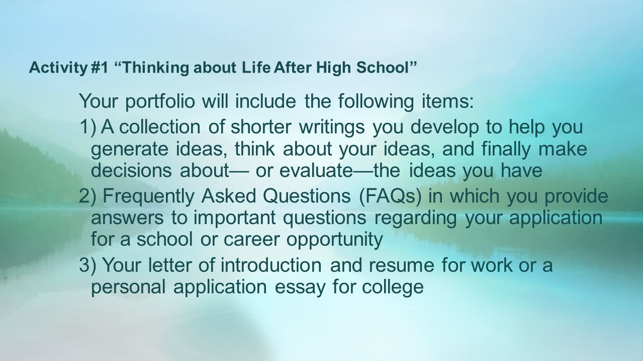 Important Of English Language Essay Activity  Thinking About Life After High School Frankenstein Essay Thesis also Reflection Paper Example Essays Whats Next Thinking About Life After High School  Ppt Video  Health Promotion Essay