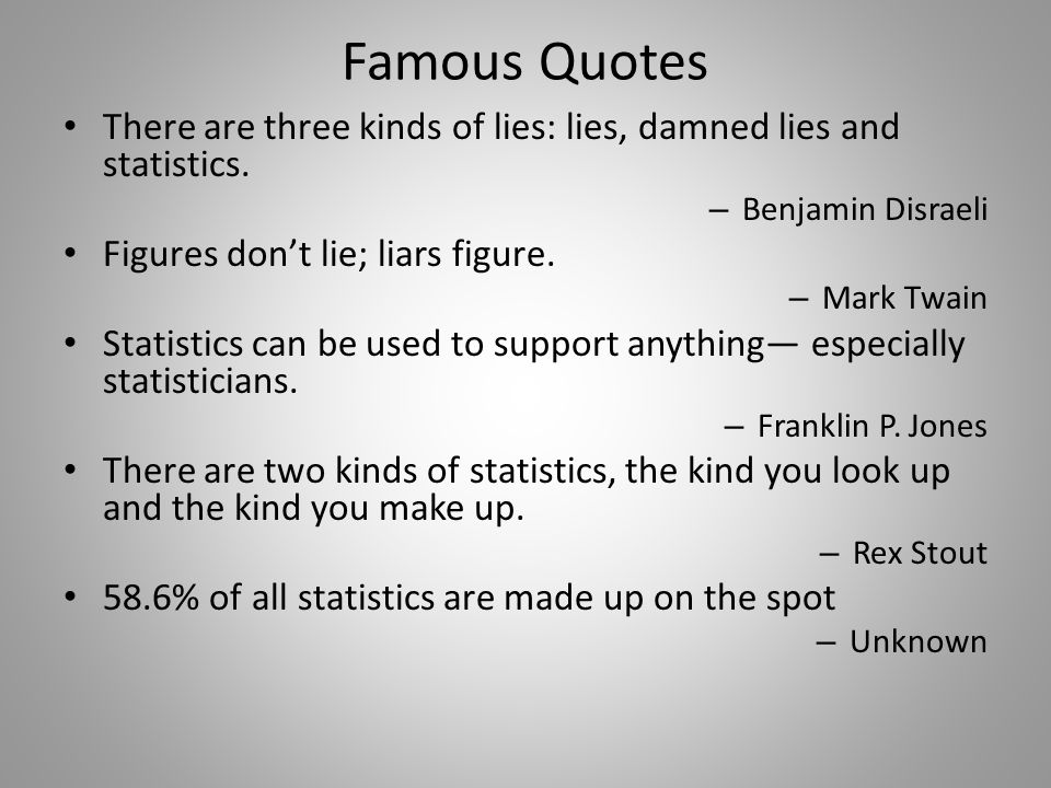 Famous Quotes There are three kinds of lies: lies, damned