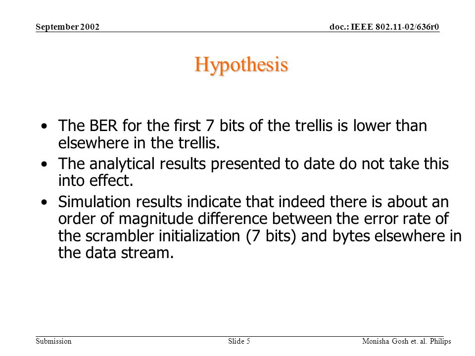 September 2002 Hypothesis. The BER for the first 7 bits of the trellis is lower than elsewhere in the trellis.
