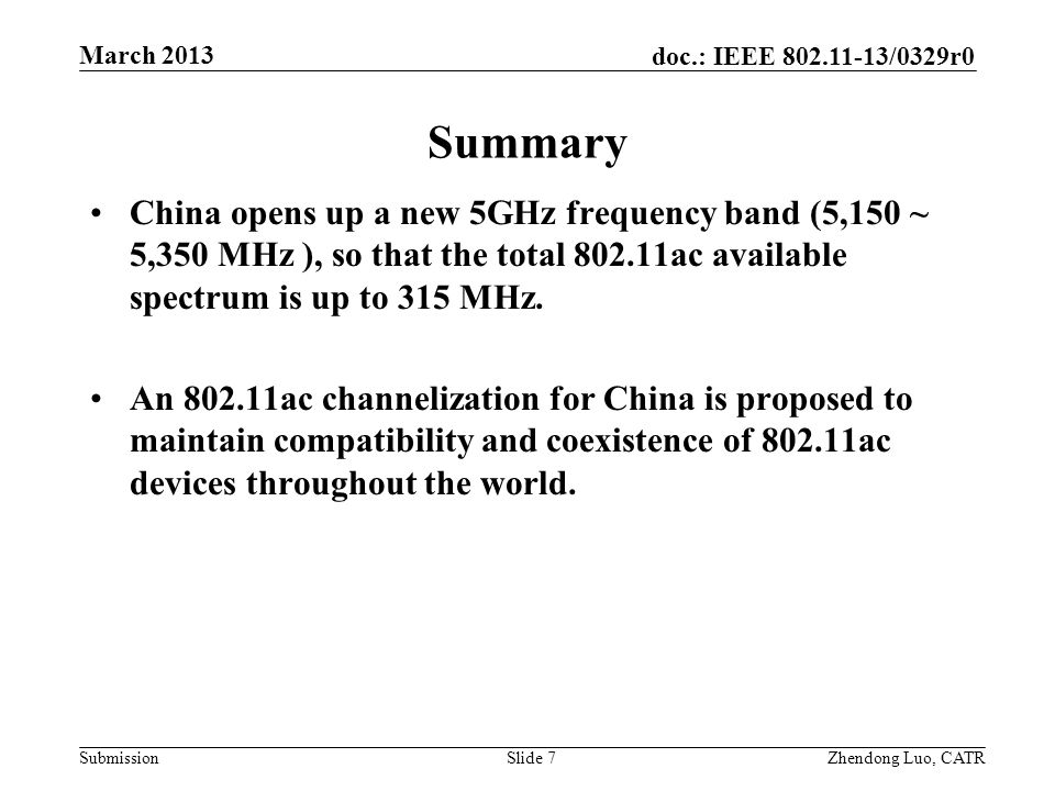 Summary China opens up a new 5GHz frequency band (5,150 ~ 5,350 MHz ), so that the total 802.11ac available spectrum is up to 315 MHz.