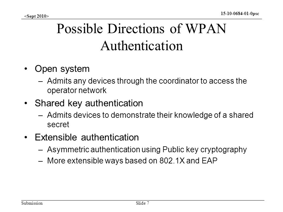 Possible Directions of WPAN Authentication
