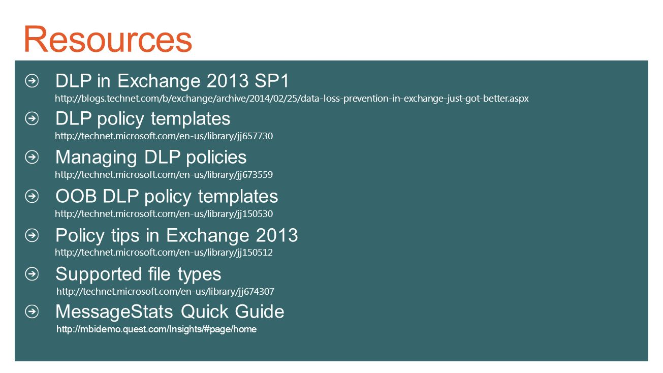 resources dlp in exchange 2013 sp1 policy templates