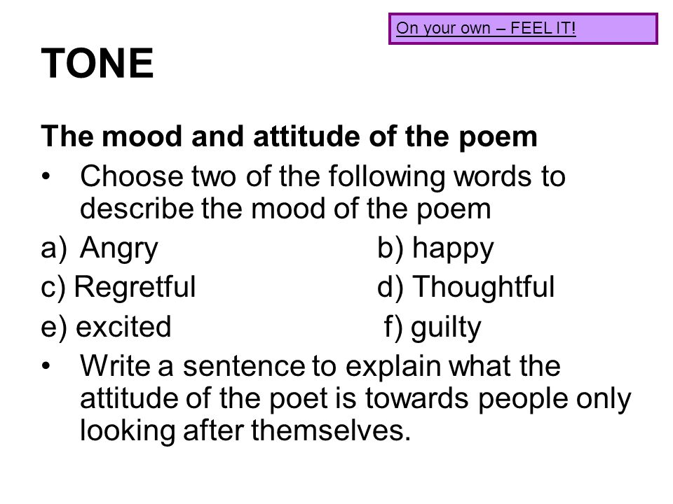 how to find the tone of a poem