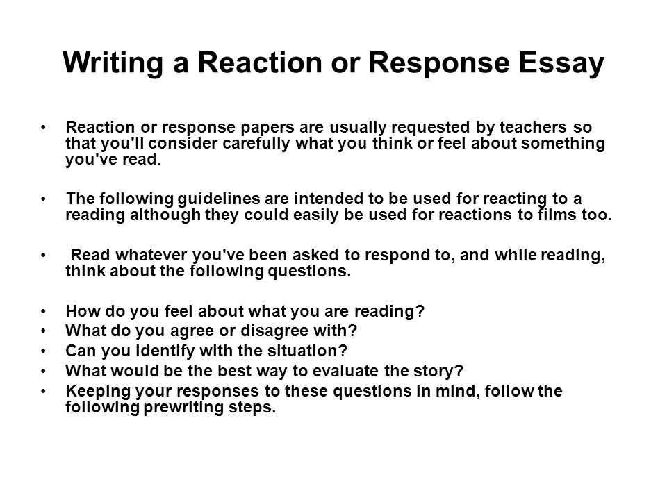 writing a reaction or response essay - Critical Response Essay Format